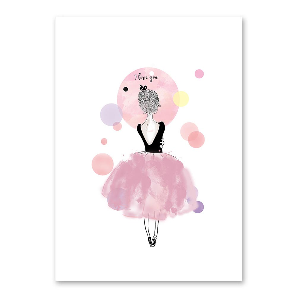 Kawaii Girls Nordic Style Cartoon Canvas Poster Wall Art