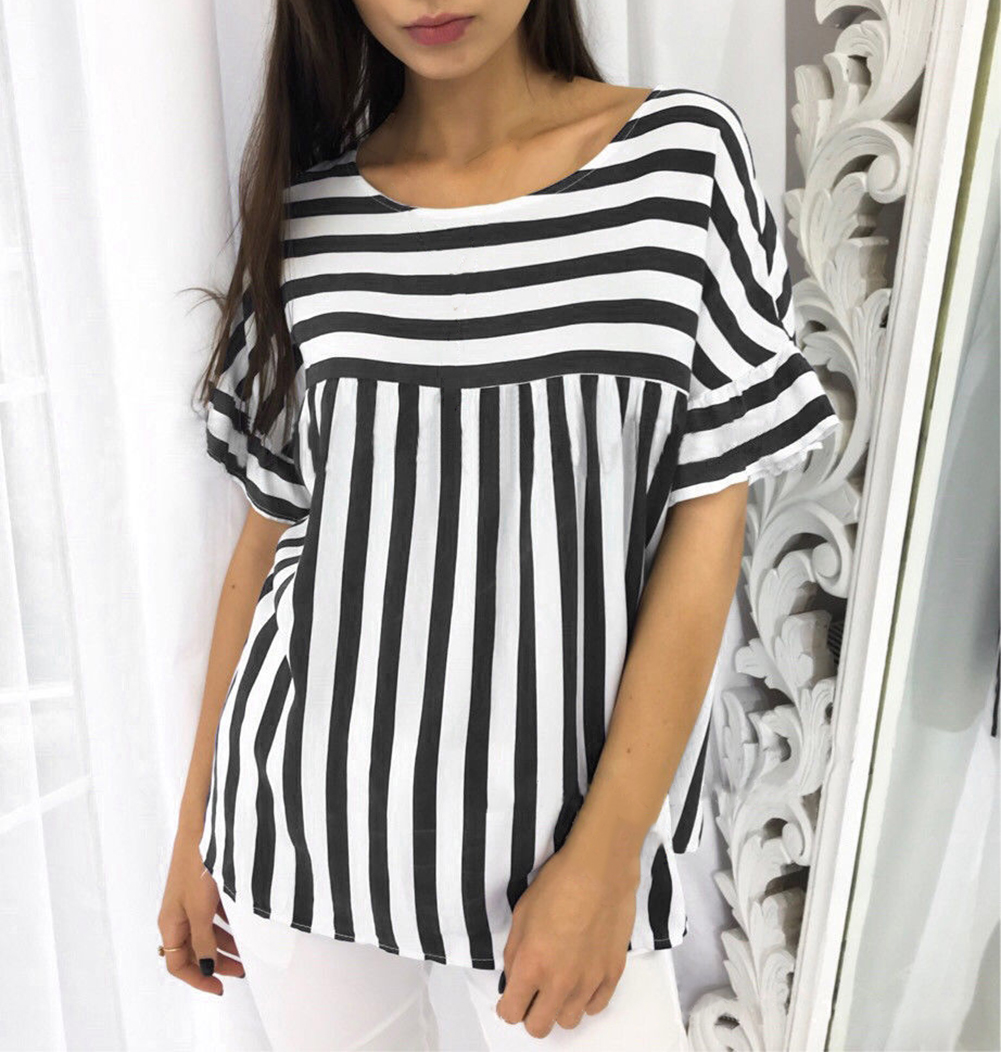 3bfe694ea4e0f Details about Womens Striped Blouse T-Shirt Short Sleeve Casual Loose Tops  Summer Plus Size