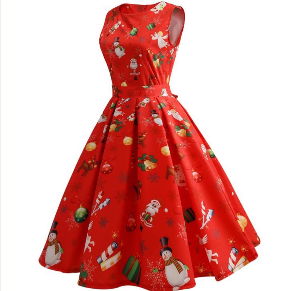 frauen-Maedchen-Santa-Weihnachten-Kleid-Sleeveless-Xmas-Swing-Red-Retro-50s-Kleid
