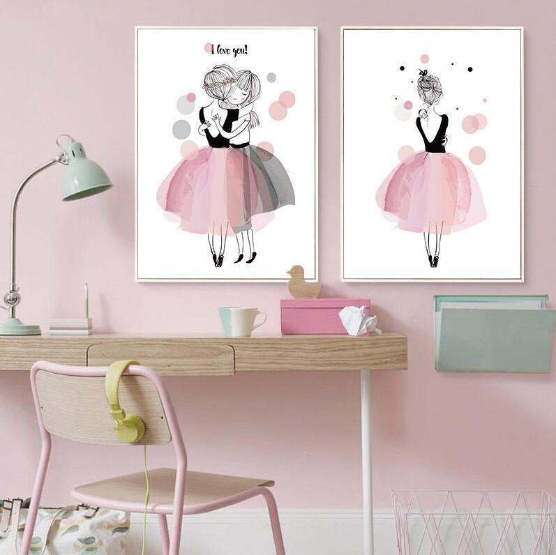 unframe kawaii m dchen leinwand poster wand kunstdruck kinderzimmer dekore ebay. Black Bedroom Furniture Sets. Home Design Ideas