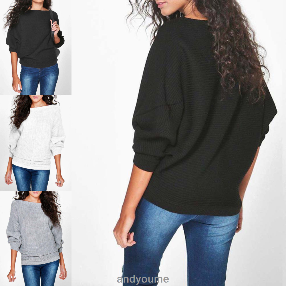 Ladies New Stylish Amelia Oversized Rib Knit Batwing Jumper Sweater Boho UK 6-14