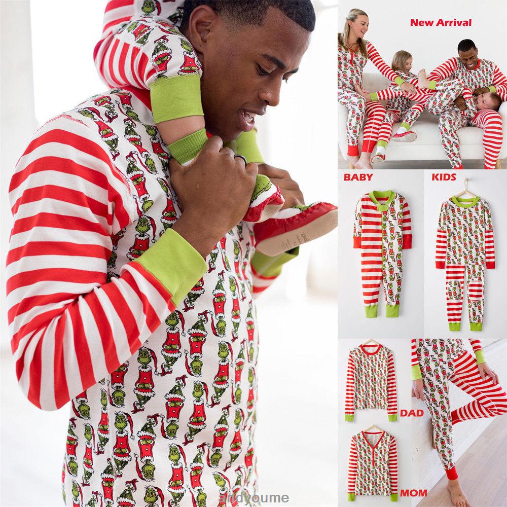 Family Matching Christmas Sleepwear Women Men Kids Baby Nightwear ...