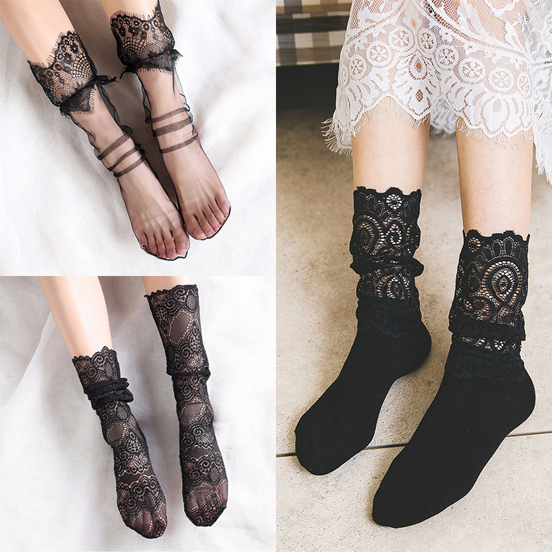 SHEER FISHNET VARIOUS COLOURS /& DESIGNS LACE NEW FANCY LADIES ANKLE SOCKS