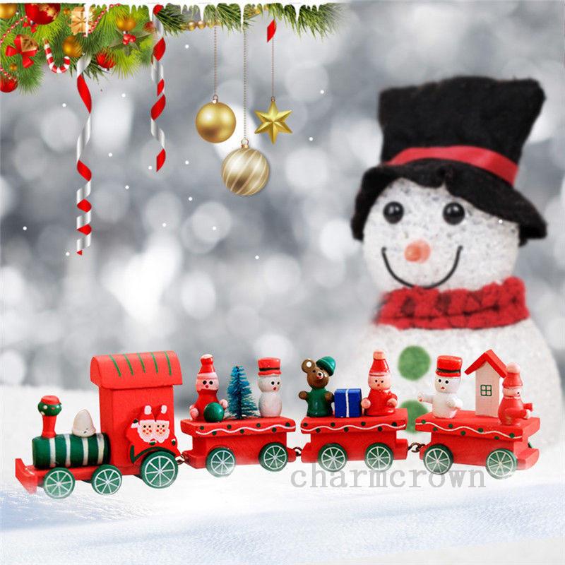 4-Pieces-Bois-Santa-Christmas-Train-de-Noel-Ornement-Decor-Cadeau-enfants-Jouet