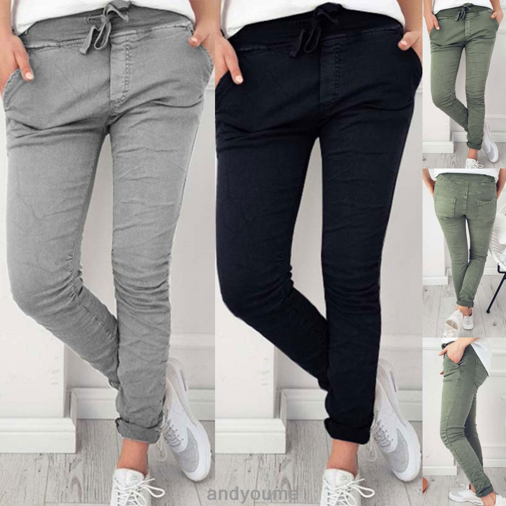 05b0b7f783 Details about Stylish Womens Jogger Pants Casual Stretch Slim Fit  Drawstring Skinny Trousers