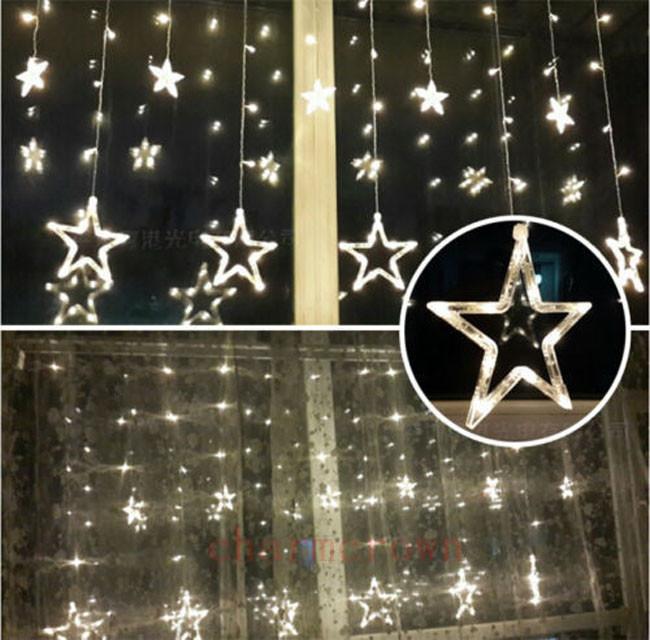 12 funkeln stern 48led lichterkette hochzeit fenster deko weihnachts lichter neu ebay. Black Bedroom Furniture Sets. Home Design Ideas