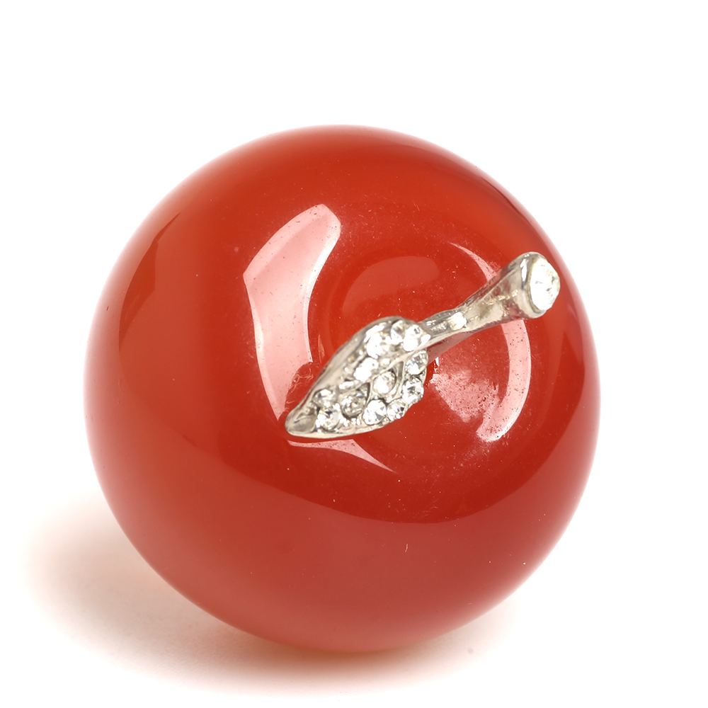 45mm Red Quartz Crystal Apple Paperweight Carved Ornaments Xmas Gift Gem Apple