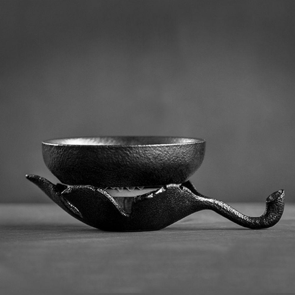Black Ceramic Gongfu Tea Leaf en forme de maille fine passoire /& Support