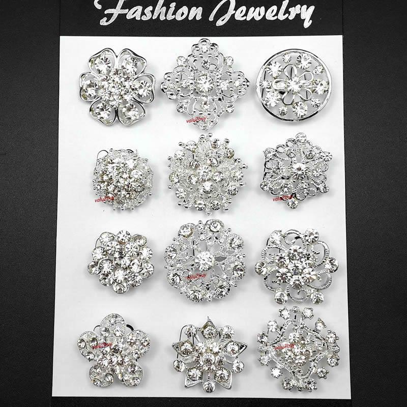 Brooch Lot 10-100 pcs Silver Rhinestone Crystal Pin Wedding Bouquet DIY Kit