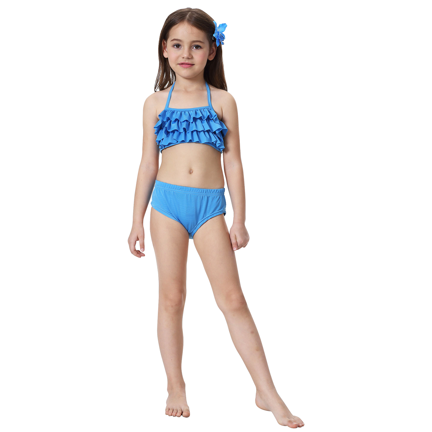 UK STOCK Mermaid Tails Swimmable Monofin Swimsuit for Girls  Kids Swimming BLUE