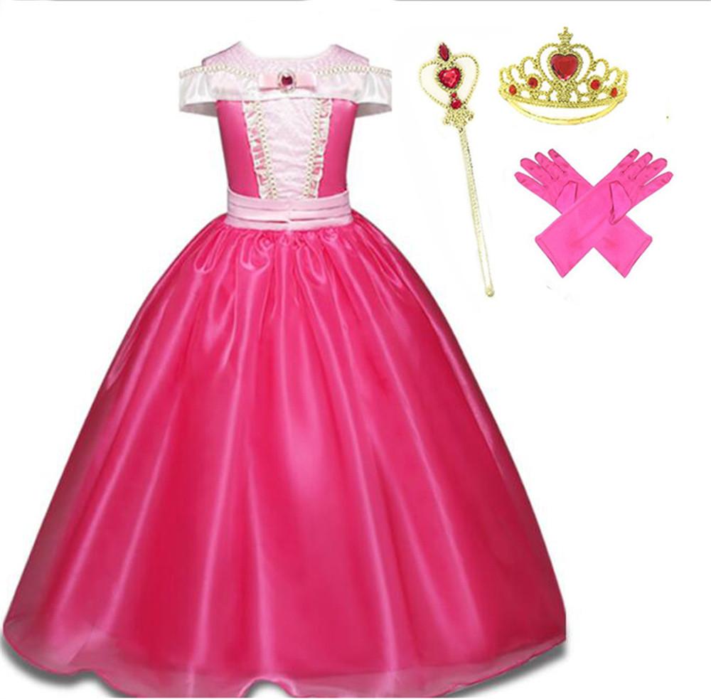 Kids Sleeping Beauty Princess Aurora Tutu Dress Xmas Halloween Cosplay Costume