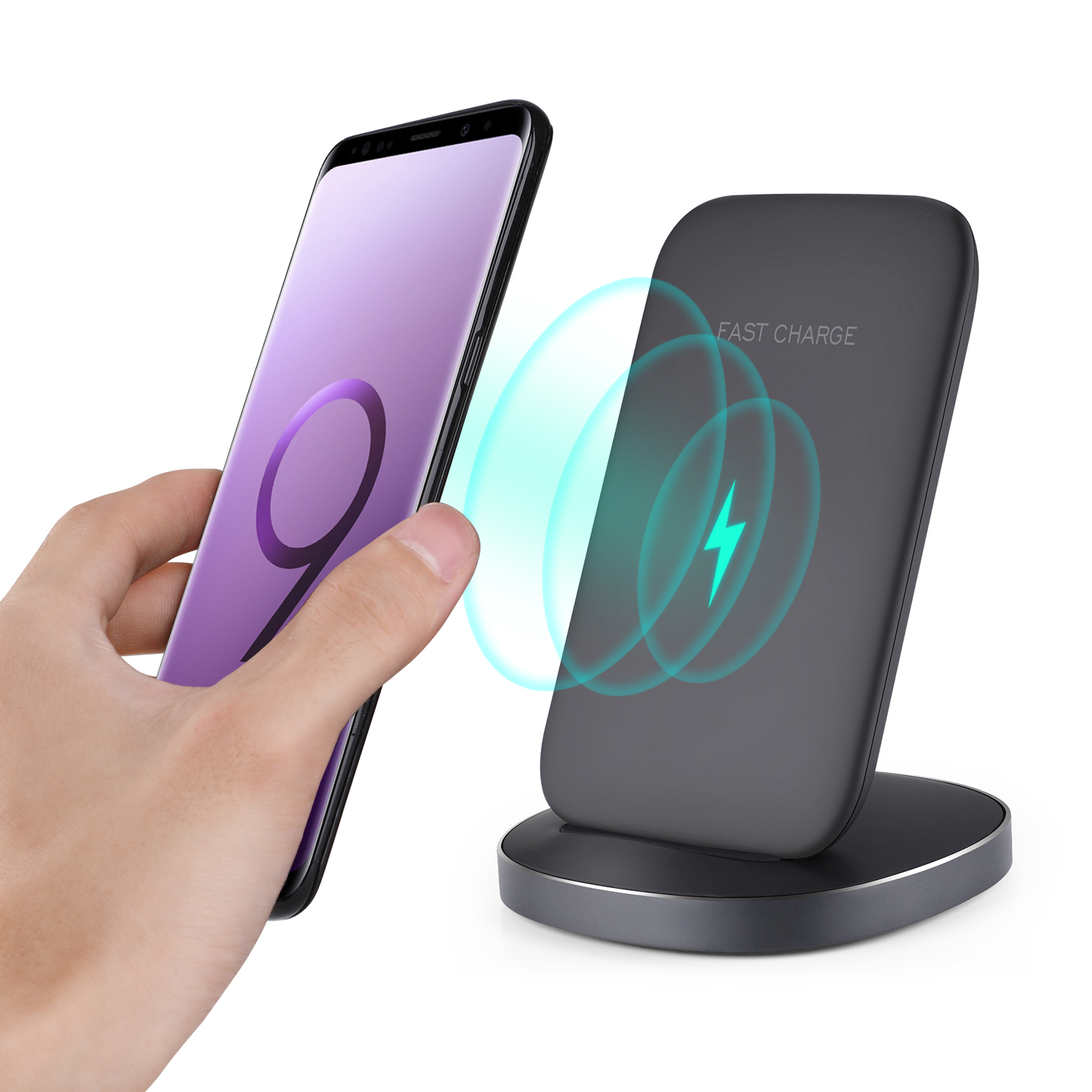 induktive ladestation wireless ladeger t qi charger iphone xs max xr xs x ebay. Black Bedroom Furniture Sets. Home Design Ideas
