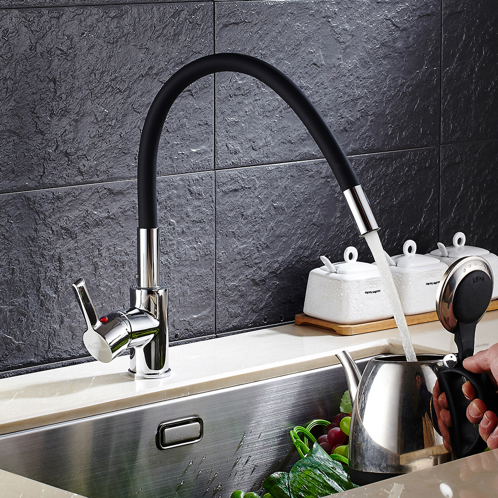 biegsam k chenarmatur sp ltisch armatur einhebelmischer k che wasserhahn schwarz ebay. Black Bedroom Furniture Sets. Home Design Ideas