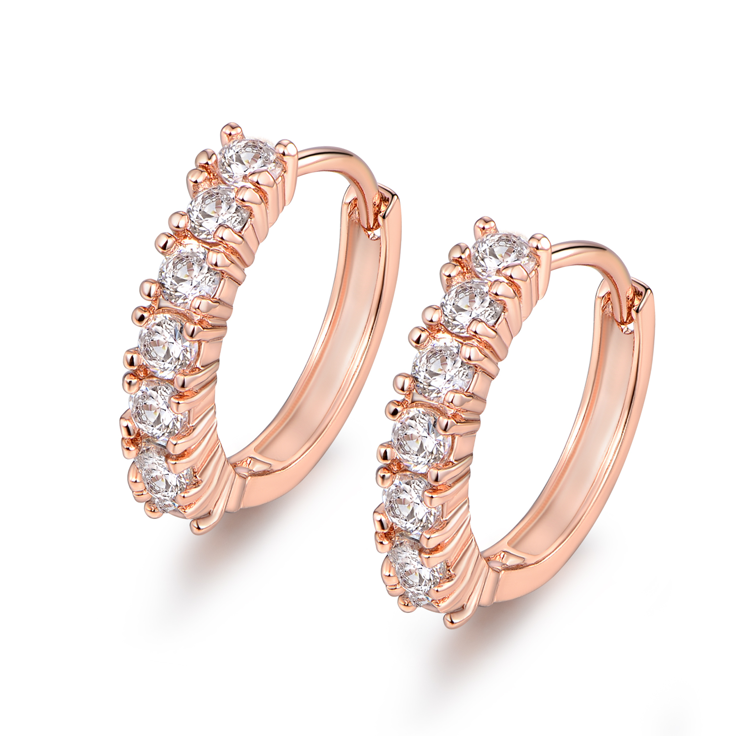 New Las 18k Rose Gold Filled White Topaz Crystal Hoop Earrings Weddings Party
