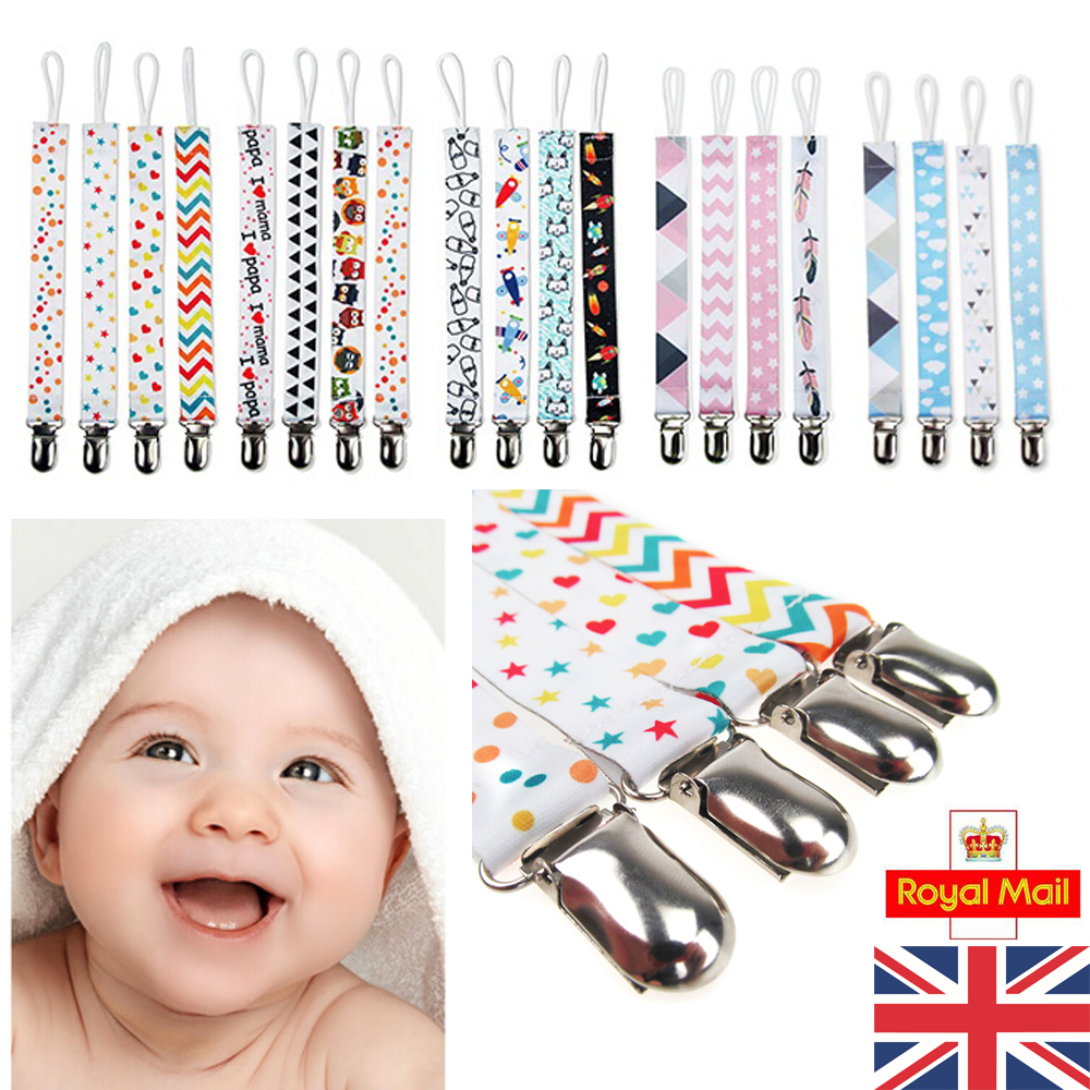 4Pcs Dummy Clip Soother Clips Teething Baby Teether Chain Holder Pacifier Strap