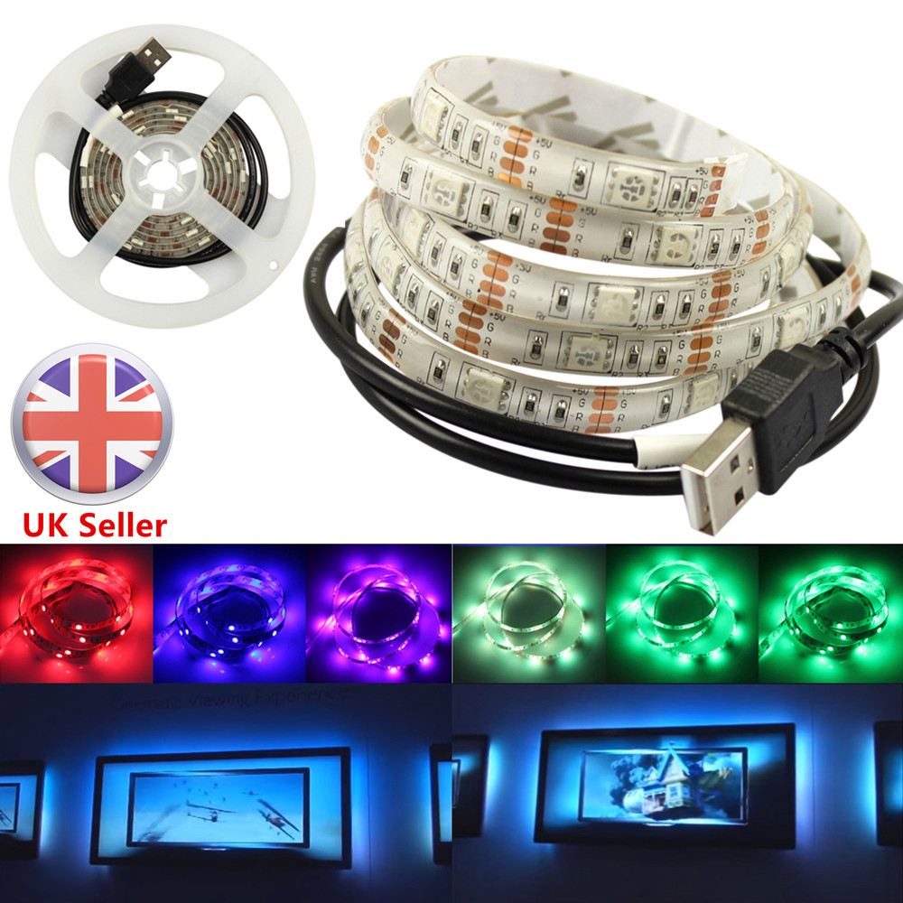 0.5m-2m USB 5050 SMD RGB Multi Color LED Strip Light TV Backlight Remote Control