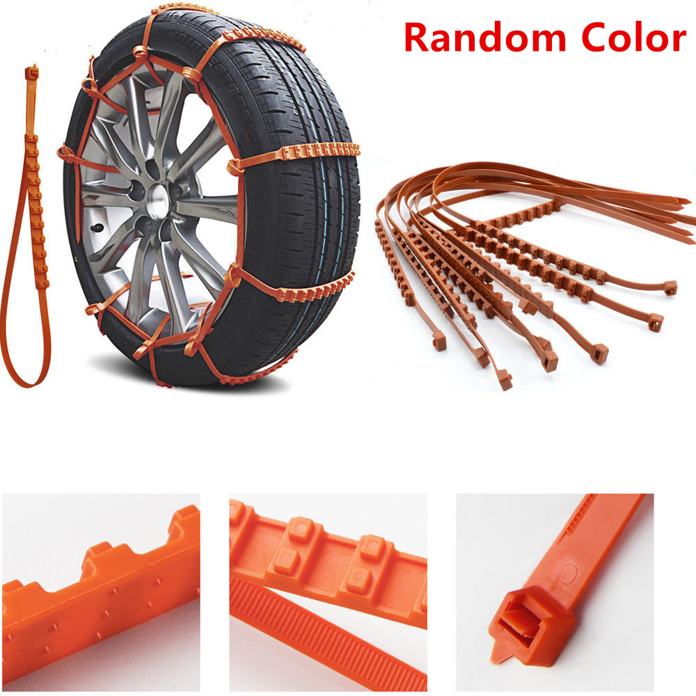 10Pcs Winter Snow Chains Anti-Skid Car Tire Rubber Chains for Mud Snow Orange Red