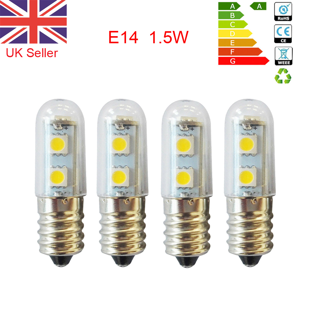 2X E14 1.5W White Warm White LED Light Bulb for Cooker Hood Chimmey Fridge U