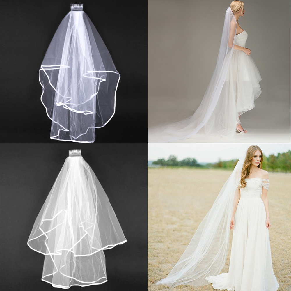 2M Long Prom Gown Wedding Bridal Veil Cathedral Length With Comb Luxury New