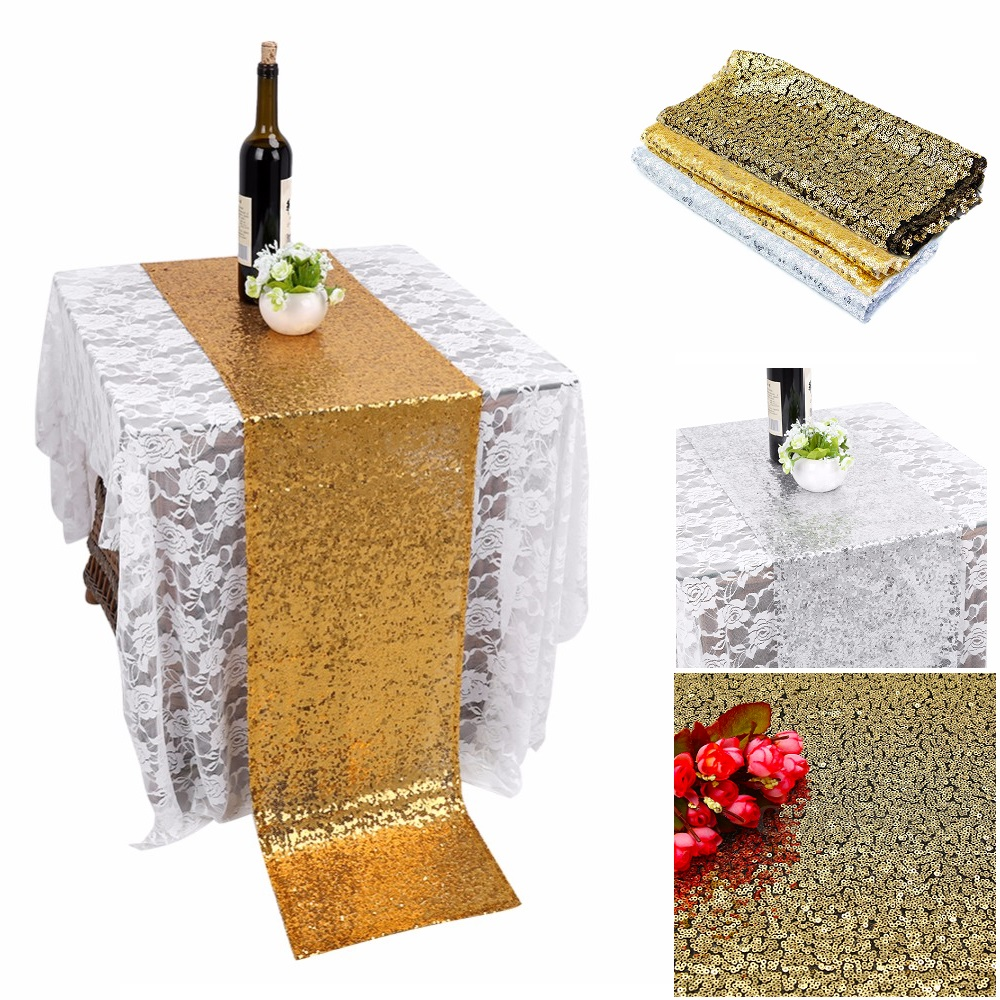 Sequin Table Runner Glitter Sparkly Shiny Bling Material Cloth ...