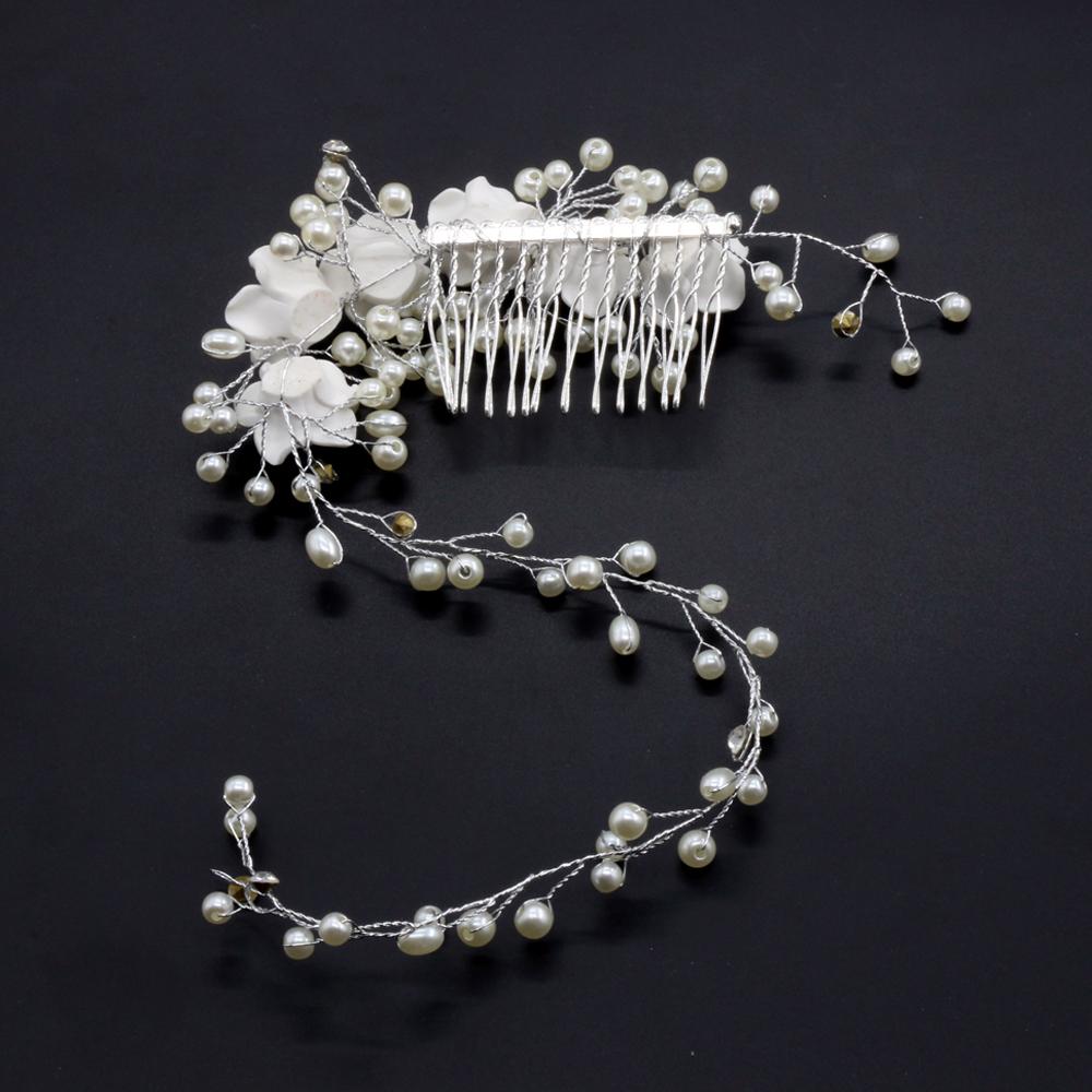 Boda nupcial perlas Flor Vid Diamantes de Imitación de Cristal Diamante Cabello Clip Peine LH