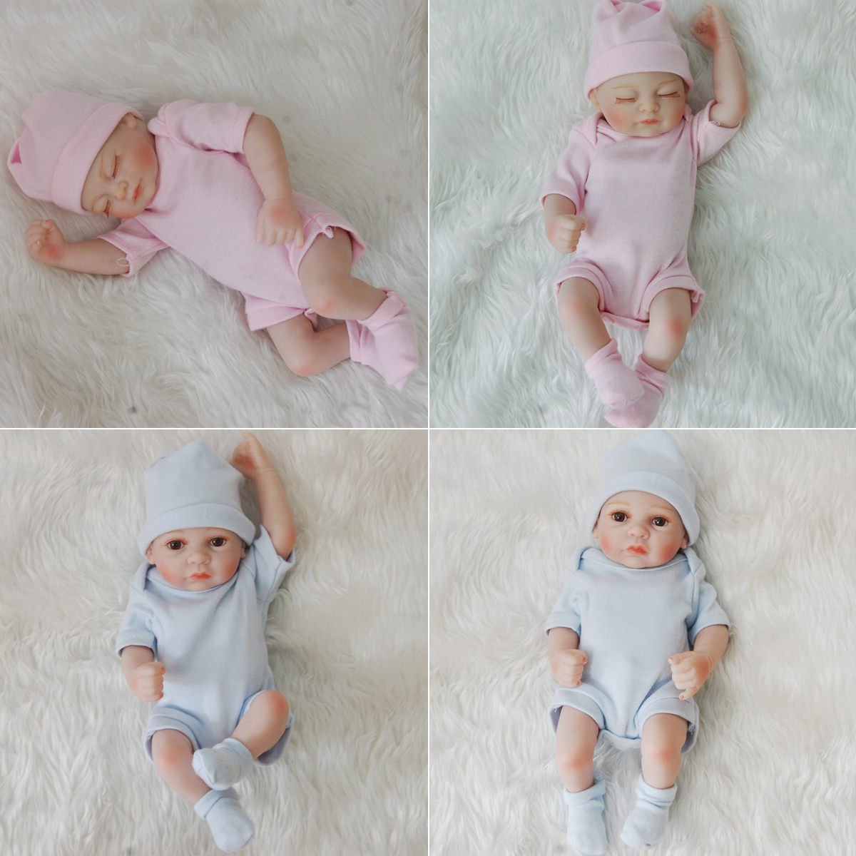 "11/"" Real Life Sleeping Newborn Girl Doll Reborn Baby Full Silicone Blue Dress"