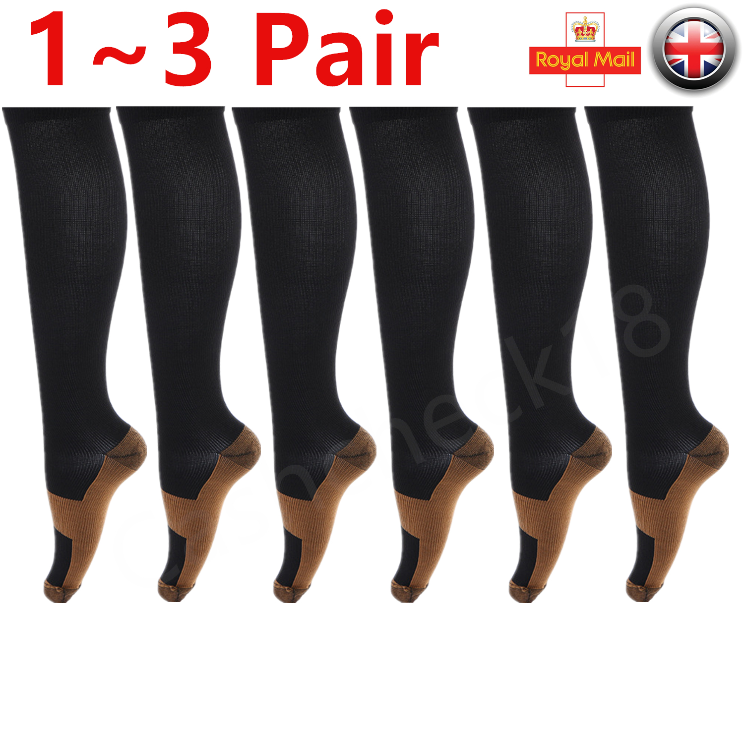 5975a3e0f37839 Details about 1~3Pair Unisex Infused Anti-Fatigue Compression Socks Running  Stocking Men Women