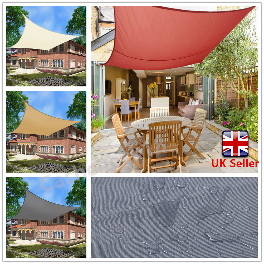 New Waterproof Sun Shade Sail Garden Patio Awning Canopy 98 Uv Block With Ropes