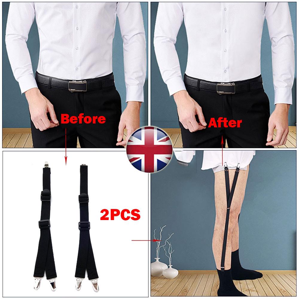 Y Style Men Elastic Band Garters Non slip Socks Shirt Stays Holder Suspender UK