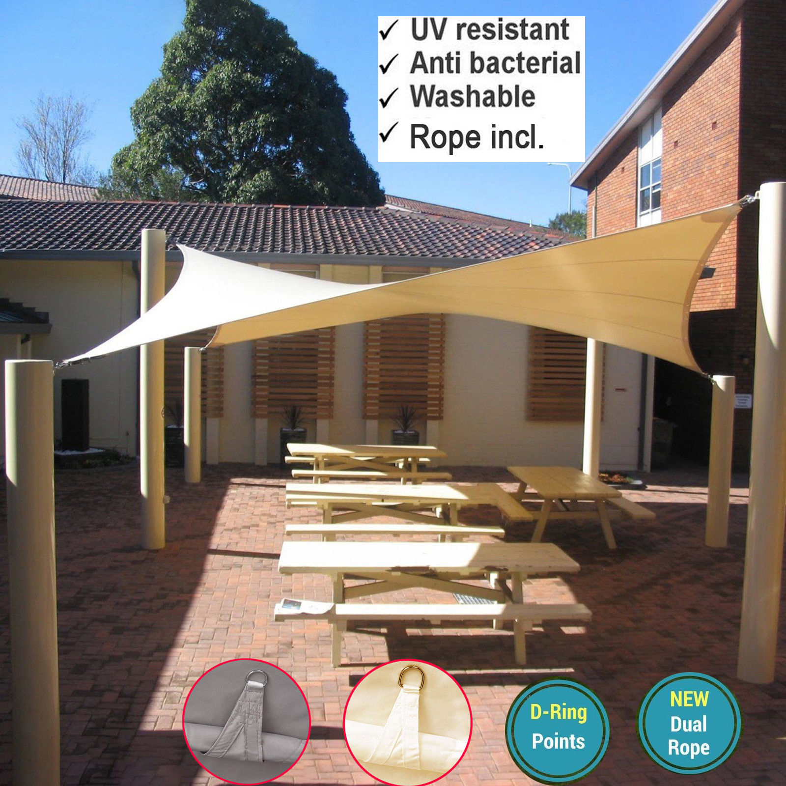 Sun Shade Sail Jardin Patio Auvent Auvent Crème Solaire 98/% UV Block New
