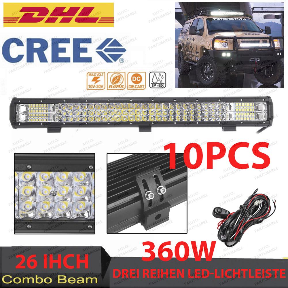10x 26\'\' 360W 3rows Led Lights Bar Cree Spot Flood Combo Work Lamp ...