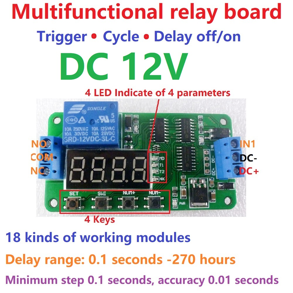 Dc 12v Multifunction Self Lock Relay Plc Cycle Timer Module Delay Circuit Time Switch