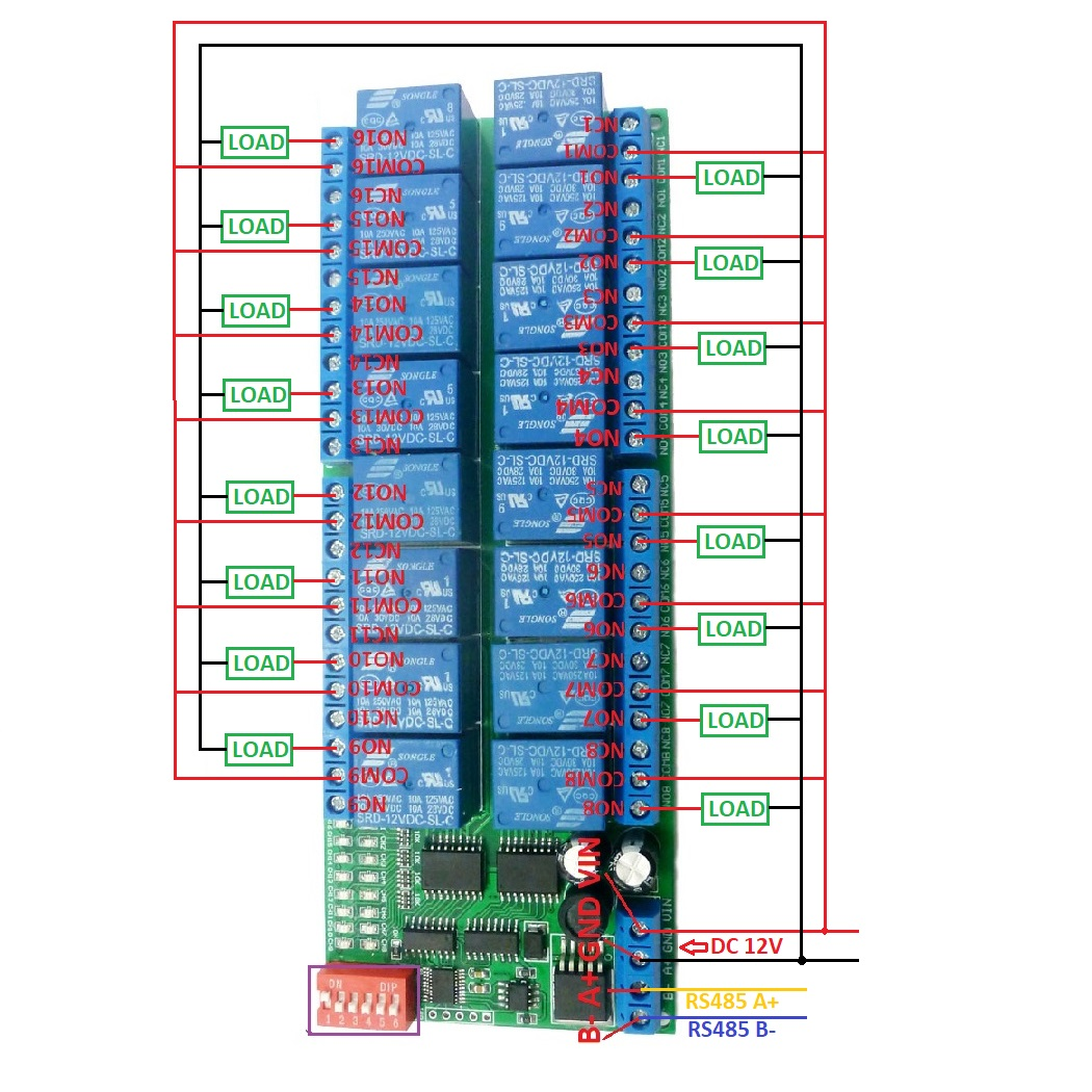 16ch 12v Modbus Rtu Rs485 Relay Module Switch Board For Plc Lamp Led Lights Ac Wiring Diagram 2 Dc 1 110v Or 85 265v Control Circuitwiring Belownoteif Not Load Need Another Power Supply May Be Fans