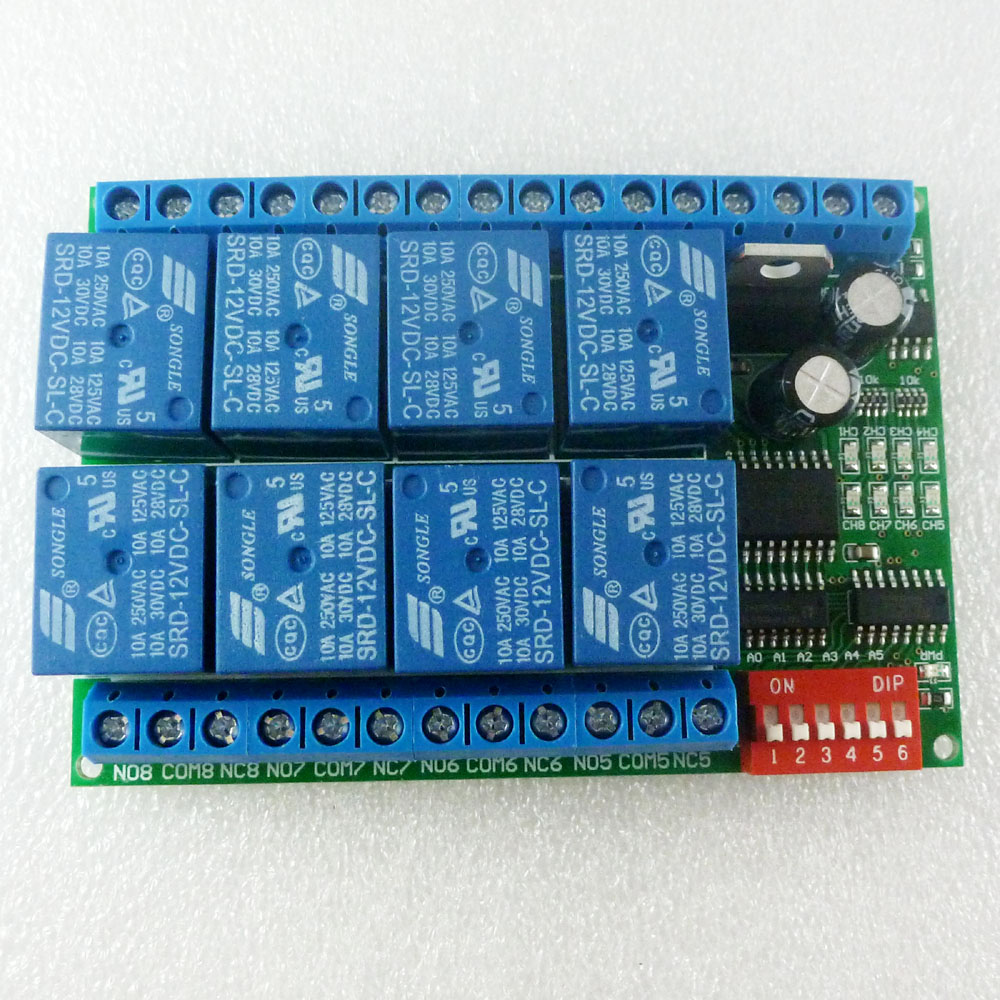 8 Channel Dc 12v Rs485 Relay Module Modbus Rtu 485 Remote Control Circuit Switch For Plc