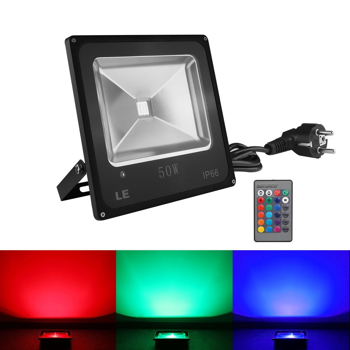 le 10w 30w 50w led rgb strahler flutlicht 16 farben 4 modi wasserdicht ip66 ebay. Black Bedroom Furniture Sets. Home Design Ideas