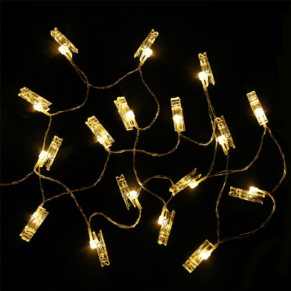 Led Rope Light Clips: 3M 20 LED Card Picture Photo Clips Pegs Warm White String