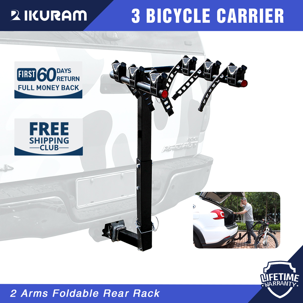 3-Bicycle Bike Rack Hitch Mount Foldable Rear Carrier Swing Receiver for Car SUV