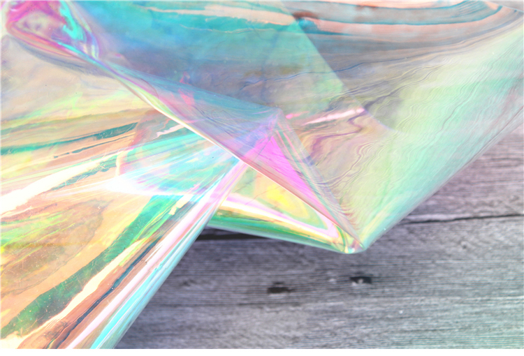 Iridescent Holographic Pvc Fabrics Clear Transparent Vinyl