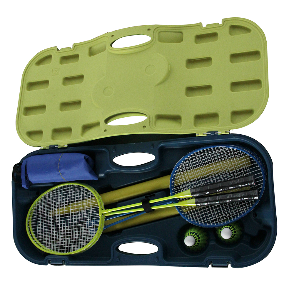 4 Pcs Badminton Racket Set Net Adjustable Portable Carrying Hard Case Training