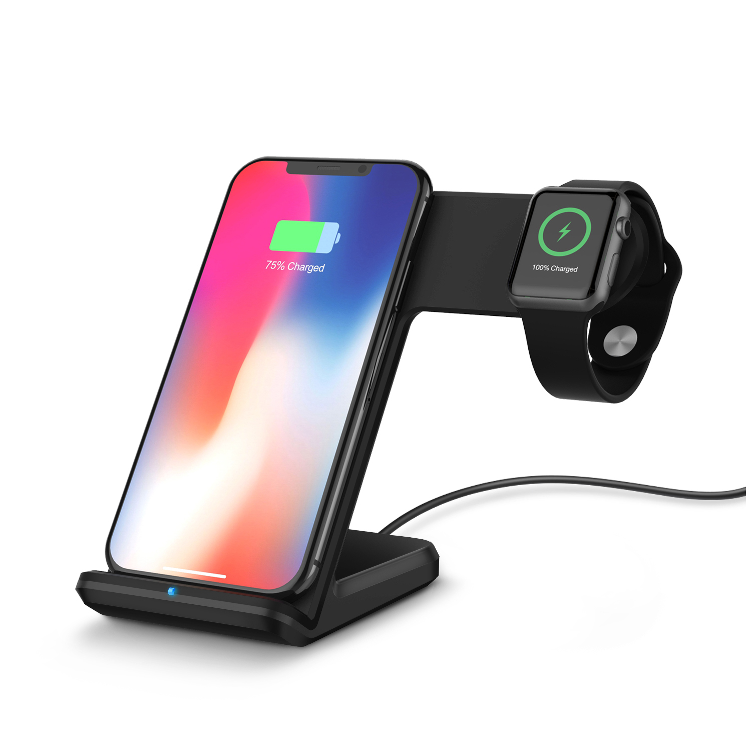 2 in 1 fast wireless ladestation f r iphone xr xs x apple. Black Bedroom Furniture Sets. Home Design Ideas