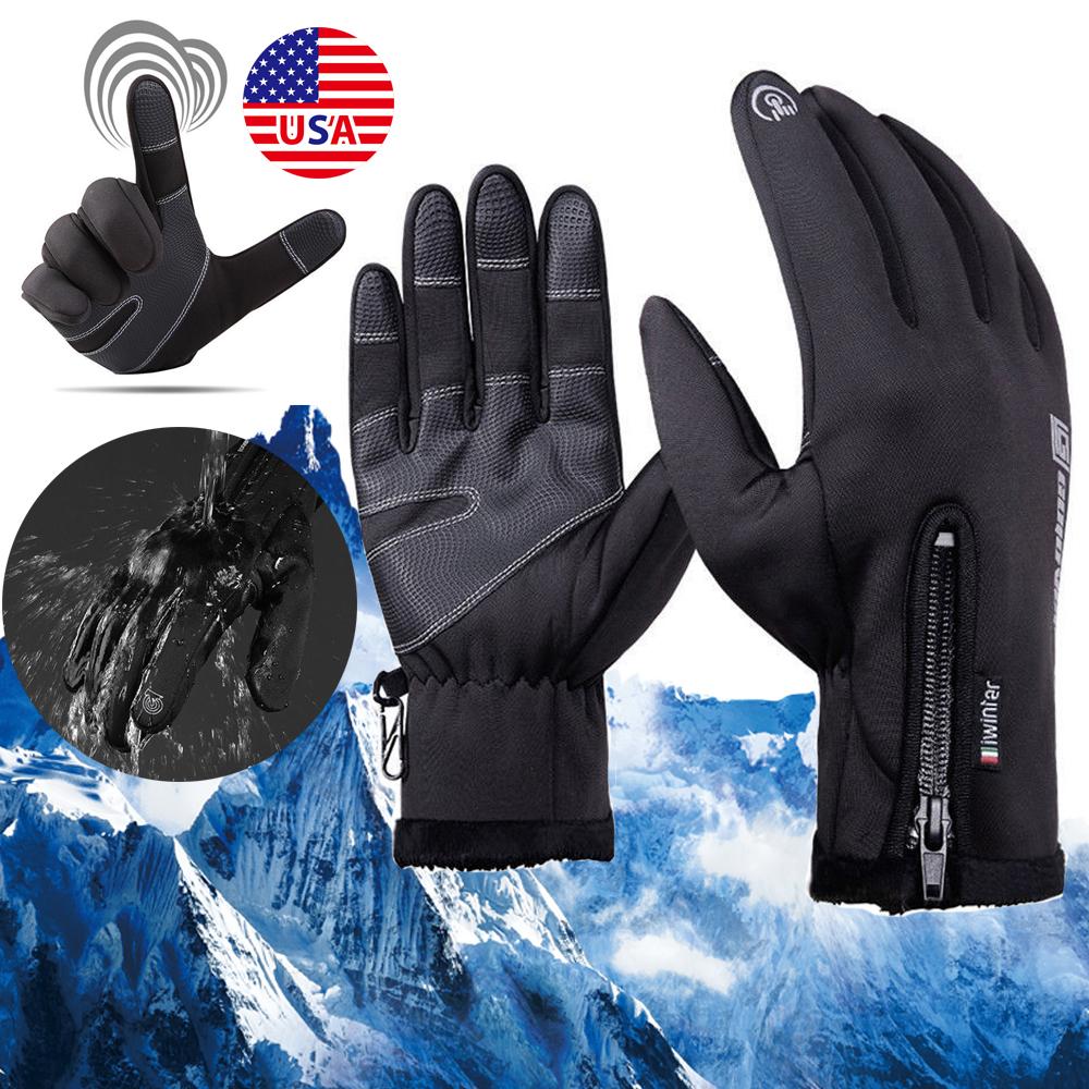 Waterproof Men's Winter Warm Touch Screen Work Gloves Outdoo