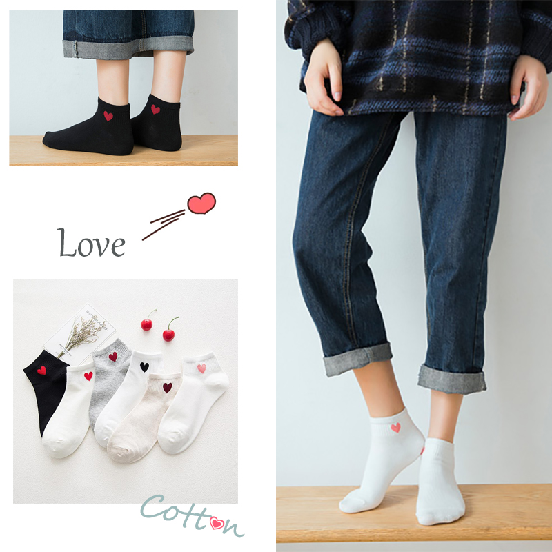 Summer Women Girl Heart Embroidered  Low Cut   Cotton Soft Short Ankle Socks