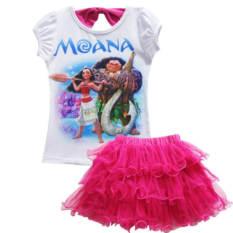 Disney Moana Girls Short Sleeve T-Shirt /& Skirt Clothing Set