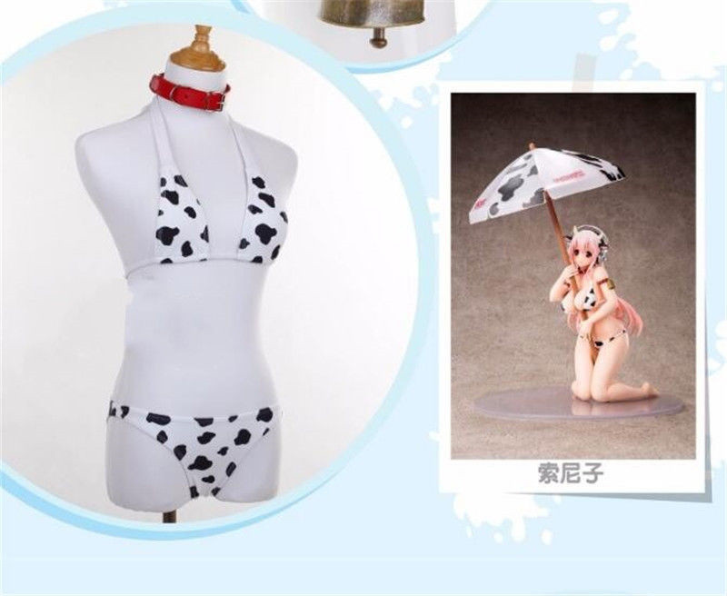 e4a8274f6a1 SUPER SONICO Cosplay Costume Women SUKUMIZU Cow Swimwear Bikini ...