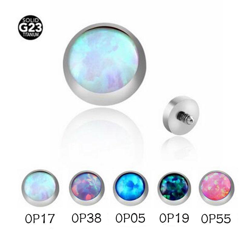 16g Titanium G23 Dermal Anchor Accessory Internally Threaded Opal
