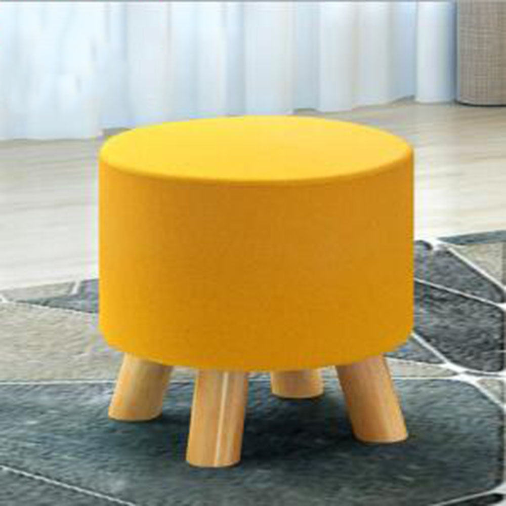 Round Chic Wooden Footstool Ottoman Pouffe Stool Foot Rest Padded Seat  Bedroom
