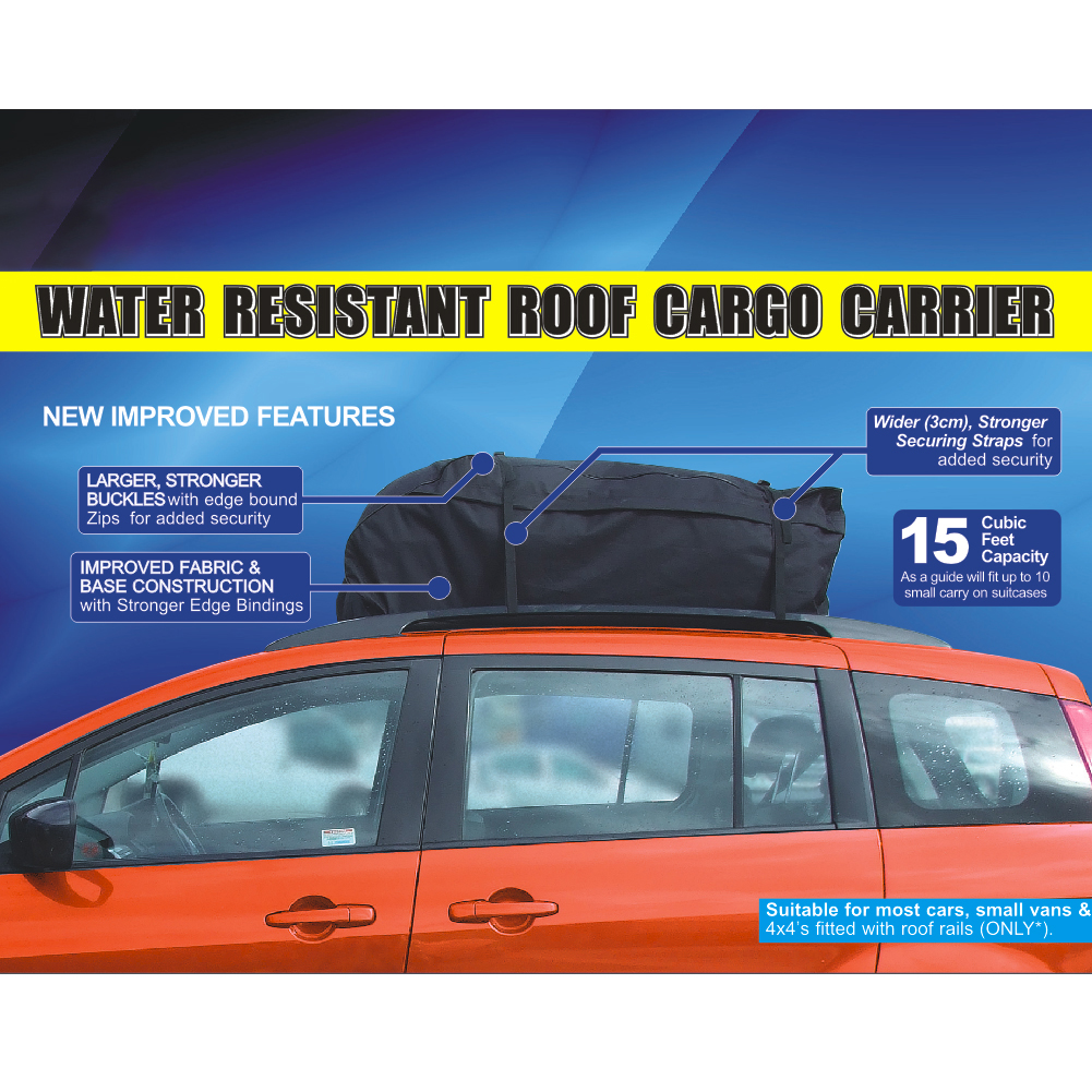 458 Litre Universal Car Cargo Water Resistant Roof Top Bag Storage