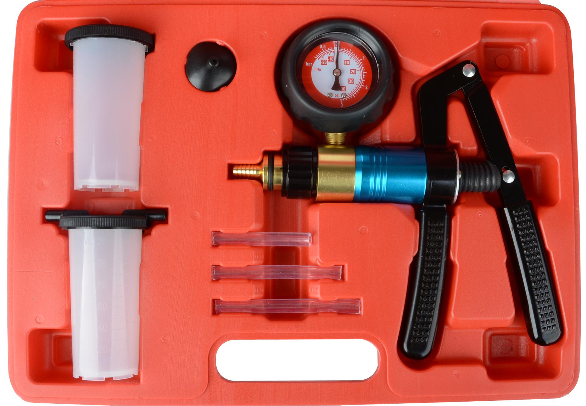 hand held vacuum pump brake bleeder set bleed tester tool kit 2 jars car bike 788537801016 ebay. Black Bedroom Furniture Sets. Home Design Ideas