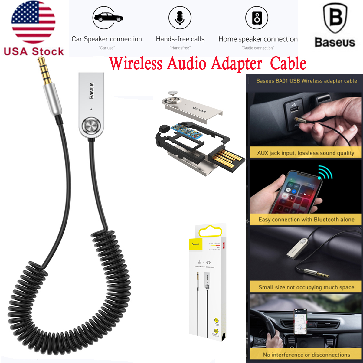 Details about Baseus Portable USB Wireless Bluetooth Audio Adapter Car  Receiver Adapter Cable