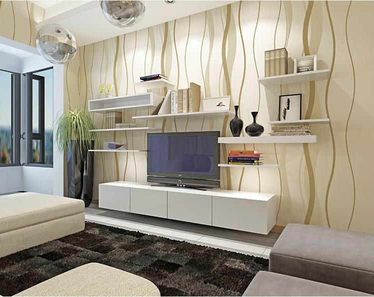 10m Modern Silver Gray Beige Wallpaper Plain Wave Tv Background Wall